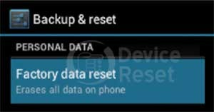 Samsung Galaxy young factory reset