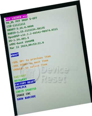 HTC One M8 hard reset