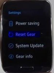 Samsung Gear S factory reset