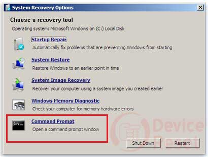 windows 7 recovery option